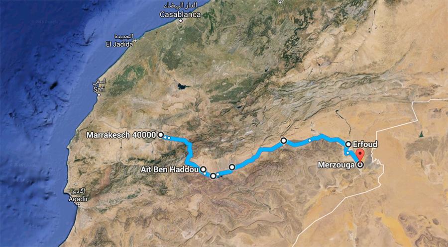 Wüstentour Route Marokko